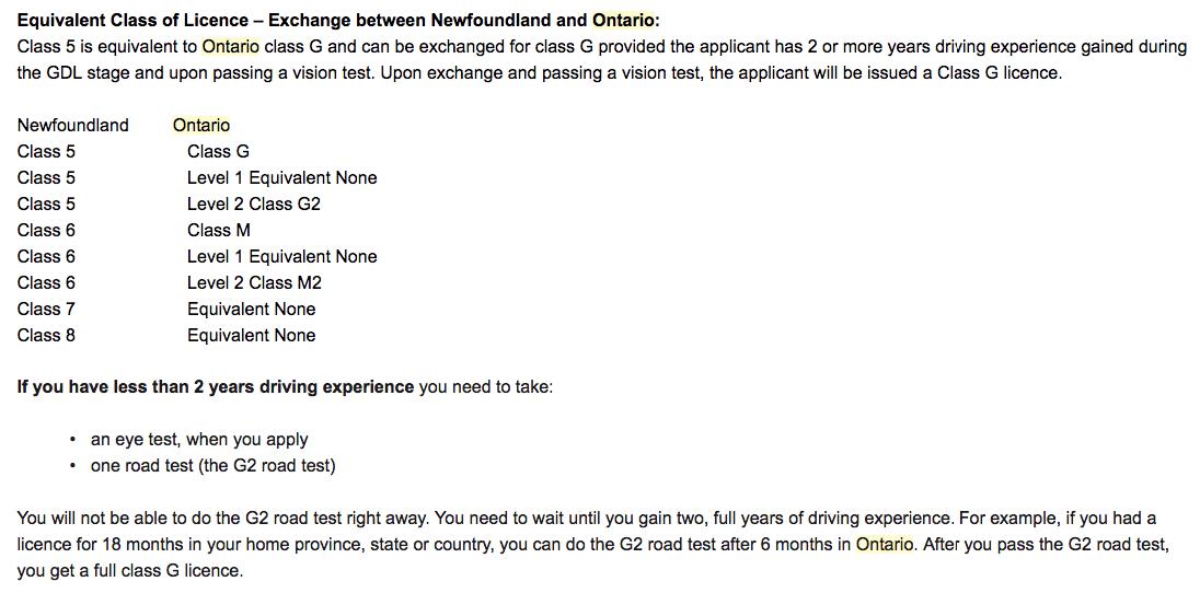 如何用纽芬兰驾照换到安大略驾照