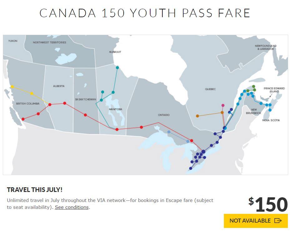 VIA七月年轻人套票 0横行加拿大